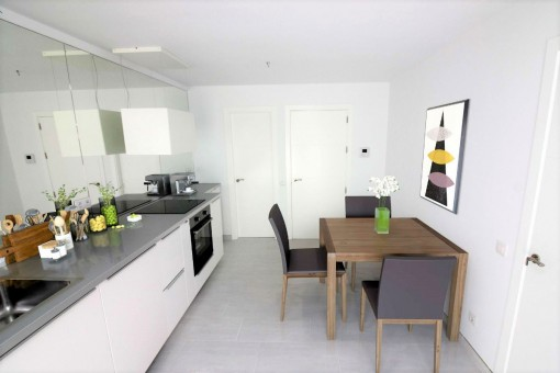 Modern kitchen with white fronts