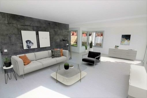 Bright living area with garden view